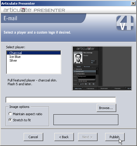 05 e mail if you have chosen to publish using version 3x templates you can customize the articulate player when e mailing flash presentation maxwellsz